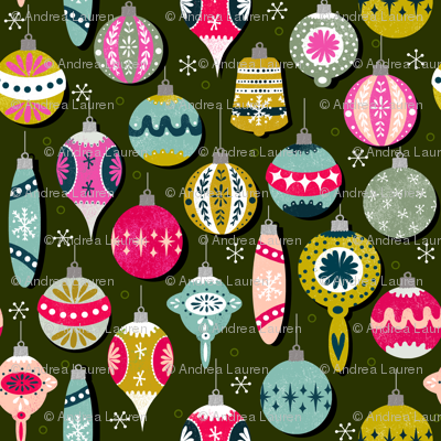 Christmas Ornaments fabric // vintage christmas fabric christmas xmas fabric cute christmas ornaments ornament fabric