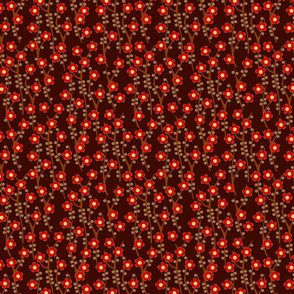 Cherry blossom - red on chocolate