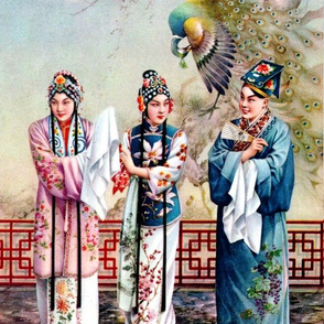 asian china chinese oriental chinoiserie traditional beijing peking opera peacocks suitor couples courtship servants maids love romance moon