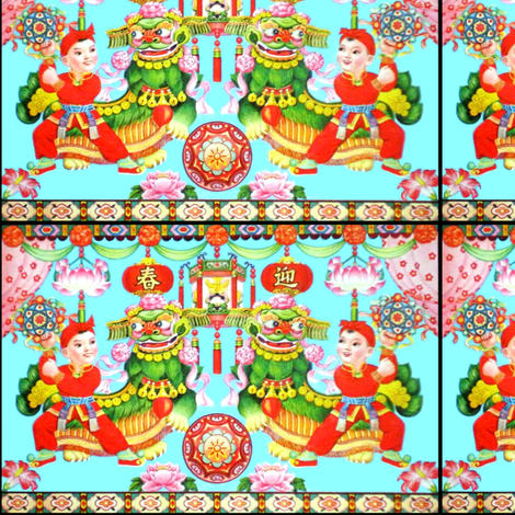 asian china chinese new year oriental children toddlers lanterns lion dance kanji spring good luck charms lotus water lily lilies traditional flowers fabric by raveneve on Spoonflower - custom fabric