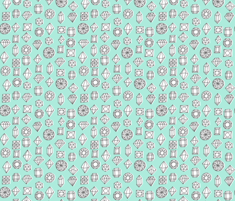 gems - mint fabric by kristinnohe on Spoonflower - custom fabric