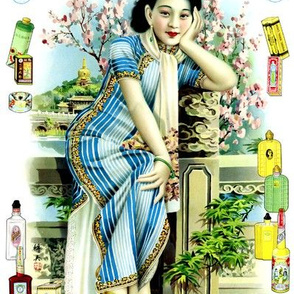 vintage retro kitsch chinoiserie asian china chinese oriental woman lady women ladies toiletries perfumes cheongsam flowers shanghai bottles pinup