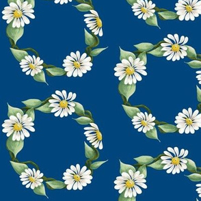 Daisy Wreath On Blue Background-ch