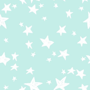 stars // pale sky blue stars fabric pastel star design andrea lauren fabric