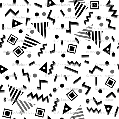 Zig Zag Trendy 80s 90s Memphis Black And White Kids