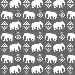 elephant white on grey linen