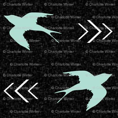 swallow bird black mint