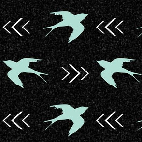 swallow bird black mint
