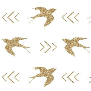 swallow bird gold glitter