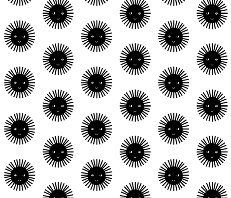 happy sun black white fabric by charlottewinter on Spoonflower - custom fabric