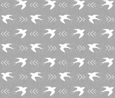 swallow bird light grey fabric by charlottewinter on Spoonflower - custom fabric