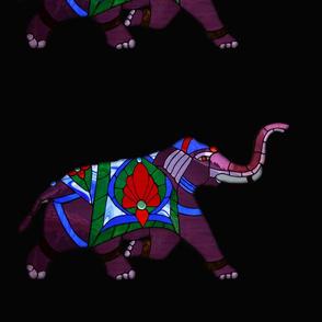 Stain Glass Purple Elephant