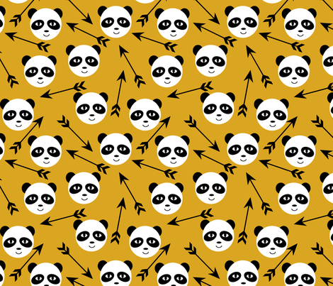 panda with arrow swedish minimal hand-drawn illustration leggings trendy design mustard kids black and white minimal monochrome nursery designer  fabric by charlottewinter on Spoonflower - custom fabric