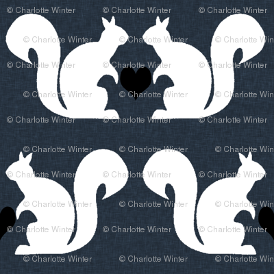 squirrels navy white heart