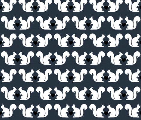 squirrels navy white heart fabric by charlottewinter on Spoonflower - custom fabric