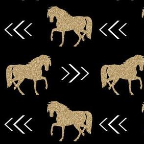 horse black glitter