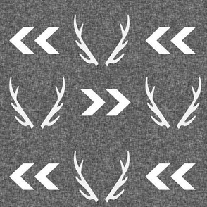 antler linen charcoal grey texture chevron arrow