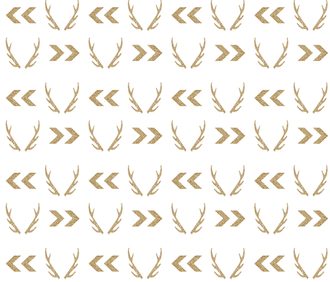gold glitter antler chevron arrow fabric by charlottewinter on Spoonflower - custom fabric