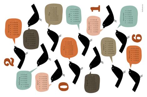 Bird Talk 2016 Calendar - Autumn fabric by jenimp on Spoonflower - custom fabric