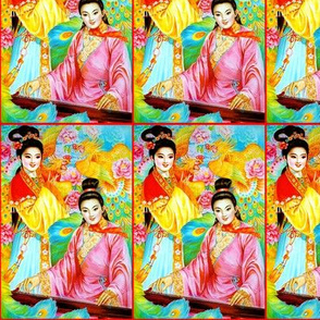 asian china chinese oriental chinoiserie ancient dynasty couples boyfriend girlfriend lovers flowers mudan peony phoenix peacocks zither musician romance