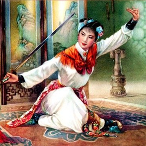 asian china chinese oriental chinoiserie hua mulan woman lady girl warriors traditional martial arts kung fu heroine swords woman