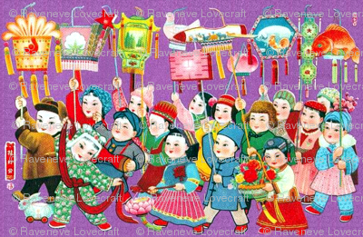 vintage retro asian china chinese oriental chinoiserie lanterns lights autumn celebrations children boys girls goldfish rabbits lotus rooster flowers