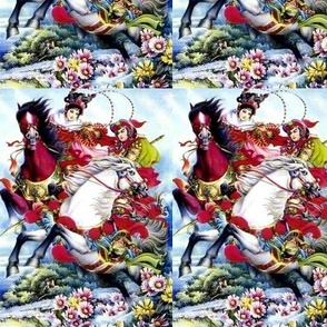 chinoiserie asian china chinese oriental woman lady man warriors soldiers war battles traditional martial arts kung fu horse riding mountains flowers