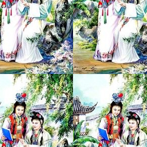 asian china chinese oriental chinoiserie traditional gardens trees flowers dreams red mansion literature classic lords lady ancient dynasty