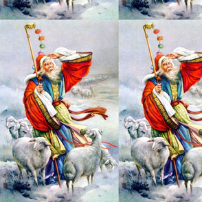 asian china chinese oriental chinoiserie traditional ancient dynasty shepherd goats sheep snow winter mountains old man grandfather lambs