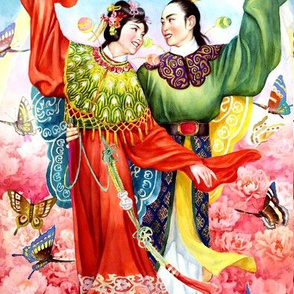 china chinese oriental ancient dynasty peony flowers opera folk tales fairy lovers couples butterfly boyfriends girlfriends valentine love romance