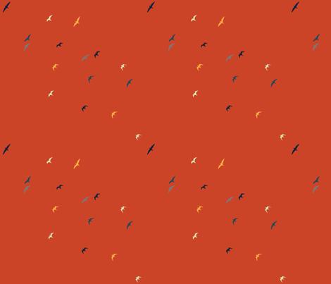 birds_orange fabric by lousberry on Spoonflower - custom fabric