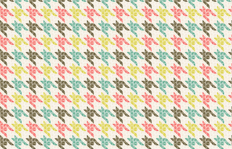 Houndstooth Mint Coral and Taupe fabric by mainsail_studio on Spoonflower - custom fabric