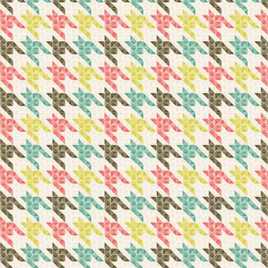 Houndstooth Mint Coral and Taupe