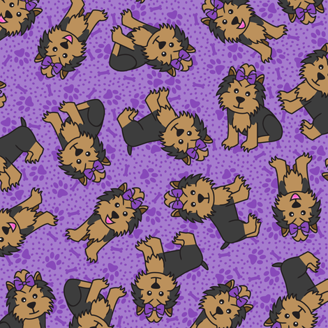 Yorkie Party (Purple) fabric by robyriker on Spoonflower - custom fabric