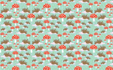 Hedgehogs and Mushrooms fabric by solvejg on Spoonflower - custom fabric