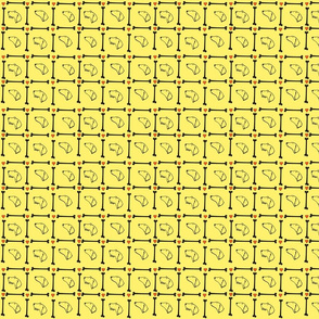 Dachshund plaid on yellow background