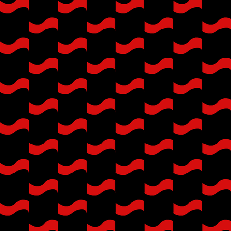 Scarlet Ripples on Black fabric by eve_catt_art on Spoonflower - custom fabric