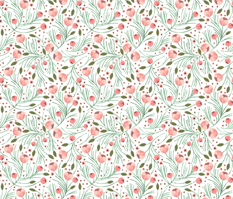 RETIRING 8/1/17 winter floral // pine fabric by ivieclothco on Spoonflower - custom fabric