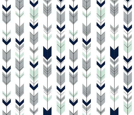 Fletching arrows // Northern Lights (white)  fabric by littlearrowdesign on Spoonflower - custom fabric