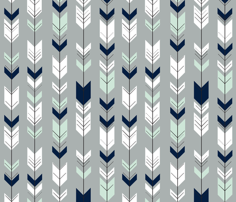 Fletching Arrow // Northern Lights - Grey fabric by littlearrowdesign on Spoonflower - custom fabric