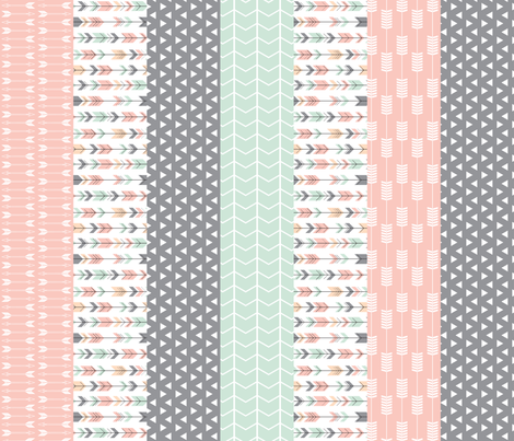 Pink/Grey/Mint 1 yard cut Wholecloth quilt top fabric by littlearrowdesign on Spoonflower - custom fabric