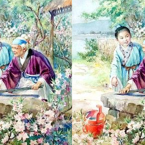 asian china chinese oriental chinoiserie ancient dynasty flowers trees mountains grandson grandmother grandma folk tales village needle polish