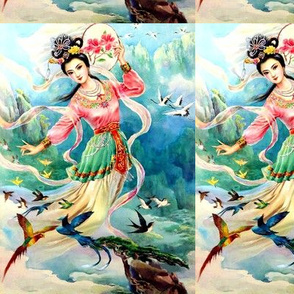 asian china chinese oriental chinoiserie ancient dynasty sky fairy fairies maidens birds paradise cranes swallows flowers embroidery trees mountains