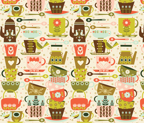Tea and Coffee - Light fabric by oliveandruby on Spoonflower - custom fabric