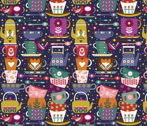 Tea and Coffee - dark fabric by oliveandruby on Spoonflower - custom fabric