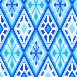 Snowflake Harlequin in Blue