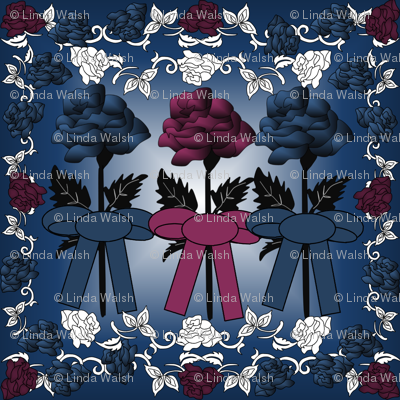 Gray Is Beautiful Blue and Burgundy Roses Fabric