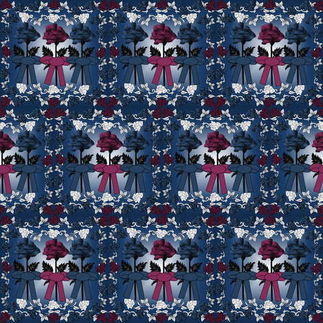 Gray Is Beautiful Blue and Burgundy Roses Fabric fabric by lworiginals on Spoonflower - custom fabric