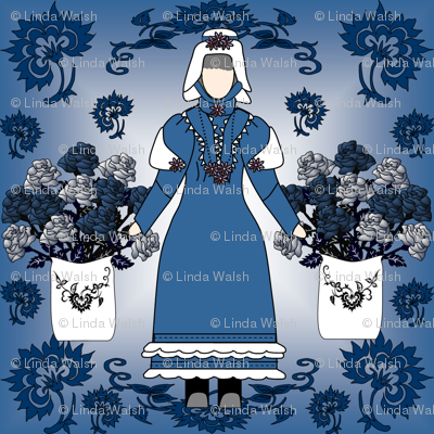 Gray Is Beautiful Victorian Lady Doll, Blue Roses and Flowers Fabric