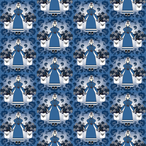 Gray Is Beautiful Victorian Lady Doll, Blue Roses and Flowers Fabric fabric by lworiginals on Spoonflower - custom fabric